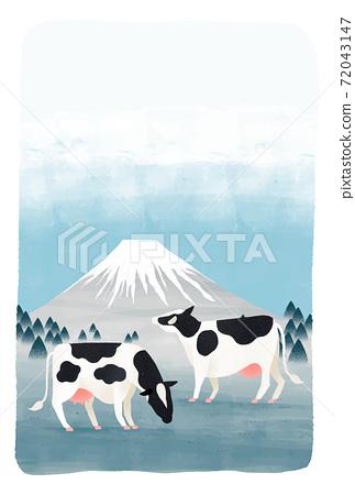 富士山,藍藍的天空,太陽和牛新年賀卡的矢量圖 72043147