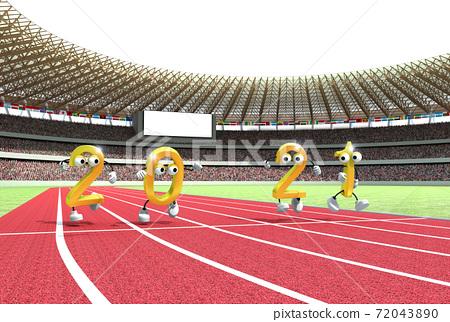 2021 년 (令和 3 년) 올림픽 개최 연도 것으로 육상 경기장을 모티브로 한 연하장 소재 72043890