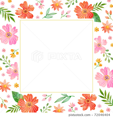 水彩紋理花相框 72046404