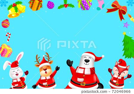 Funny Christmas Characters design wearing santa costume.  72046966