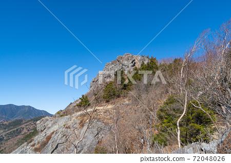 비 乞岩 부근에서 본 乾徳山 정상 72048026