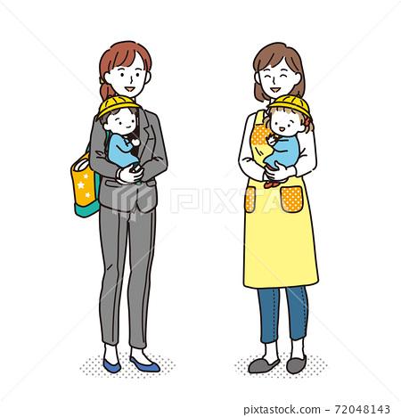 보육사에 아이를 맡기는 일하는 엄마 72048143