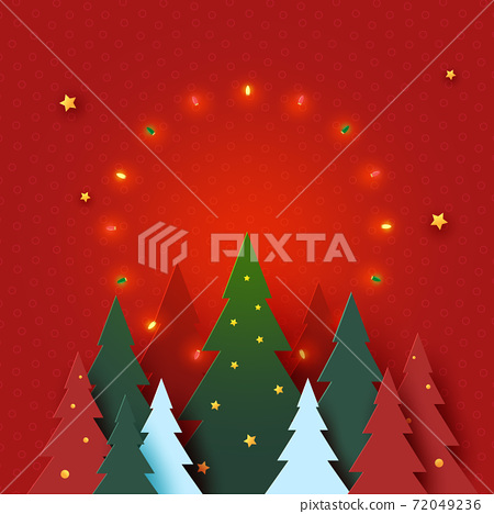 Merry Christmas and Happy new year concept.Decorated with christmas tree,light and stars on red background. 72049236