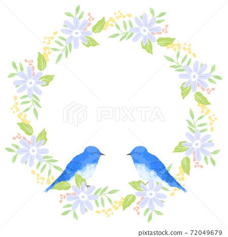 藍鳥和and草花環輕柔地撫摸著幸福 72049679