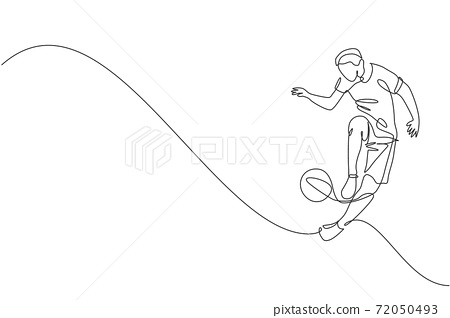 Single continuous line drawing of young sportive man train soccer freestyle, jump juggling with heel on the field. Football freestyler concept. Trendy one line draw design vector graphic illustration 72050493