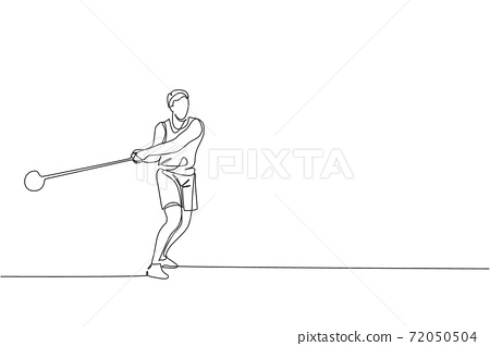 One single line drawing of young energetic man exercise to throw hammer powerfully on field vector graphic illustration. Healthy lifestyle athletic sport concept. Modern continuous line draw design 72050504