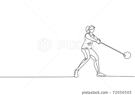One single line drawing of young energetic woman exercise to focus while swinging hammer throw vector illustration graphic. Healthy lifestyle athletic sport concept. Modern continuous line draw design 72050505