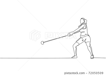 One continuous line drawing of young sporty woman exercise to focus before throw heavy hammer on the field. Athletic games. Olympic sport concept. Dynamic single line draw design vector illustration 72050509