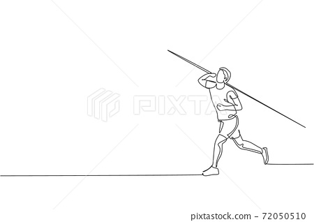One continuous line drawing of young sporty man exercise to concentrate before throw javelin on the field. Athletic games. Olympic sport concept. Dynamic single line draw design vector illustration 72050510