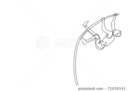 One single line drawing of young energetic man exercise pole vault to pass the bar at field vector illustration. Healthy athletic sport concept. Competition event. Modern continuous line draw design 72050541
