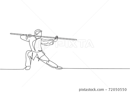 One continuous line drawing of young wushu master man, kung fu warrior in kimono with long staff on training. Martial art sport contest concept. Dynamic single line draw design vector illustration 72050550