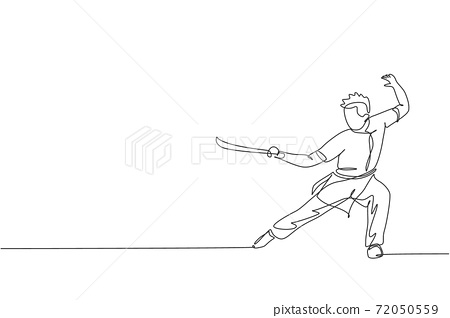 One continuous line drawing of young wushu master man, kung fu warrior in kimono with sword on training. Martial art sport contest concept. Dynamic single line draw design graphic vector illustration 72050559