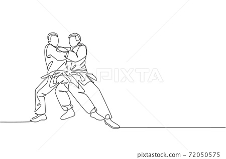 One continuous line drawing of two young sporty men training judo technique at sport hall. Jiu jitsu battle fight sport competition concept. Dynamic single line draw design graphic vector illustration 72050575