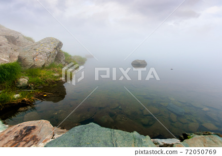 fog on the lake. grassy shore with rocks. overcast sky. mysterious nature. poor visibility concept 72050769