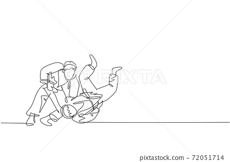 One single line drawing of two young energetic judokas fighter men battle fighting at gym center graphic vector illustration. Martial art sport competition concept. Modern continuous line draw design 72051714