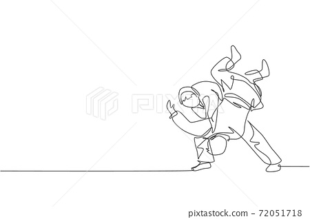 One single line drawing of two young energetic judokas fighter men battle fighting at gym center vector graphic illustration. Martial art sport competition concept. Modern continuous line draw design 72051718