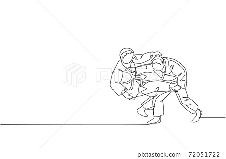 Single continuous line drawing of two young sportive judoka fighter men practice judo skill at dojo gym center. Fighting jujitsu, aikido sport concept. Trendy one line draw design vector illustration 72051722