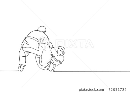 One single line drawing of two young energetic judokas fighter men battle fighting at gym center graphic vector illustration. Martial art sport competition concept. Modern continuous line draw design 72051723