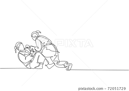 One single line drawing of two young energetic judoka fighter women battle fighting at gym center vector illustration graphic. Martial art sport competition concept. Modern continuous line draw design 72051729