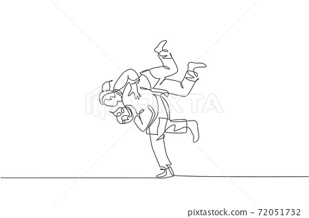 Single continuous line drawing two sportive judoka fighter women practice judo skill at dojo gym center. Fighting jujitsu, aikido sport concept. Trendy one line draw graphic design vector illustration 72051732