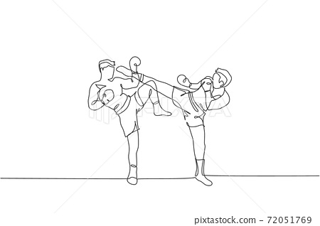 One continuous line drawing of young sporty muay thai boxer man kicking the opponent head in match game at box arena. Fighting sport game concept. Dynamic single line draw design vector illustration 72051769