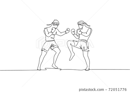 One single line drawing of two young energetic muay thai fighter men sparring fight at gym fitness center vector illustration. Combative thai boxing sport concept. Modern continuous line draw design 72051776