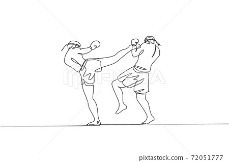 Single continuous line drawing of two young sportive men training thai boxing at gym club center. Combative muay thai sport concept. Competition event. Trendy one line draw design vector illustration 72051777