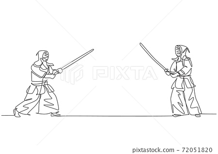 Single continuous line drawing of young sportive man practicing kendo basic skill, stance before fight on gym sport center. Fighting sport concept. Trendy one line draw design vector illustration 72051820