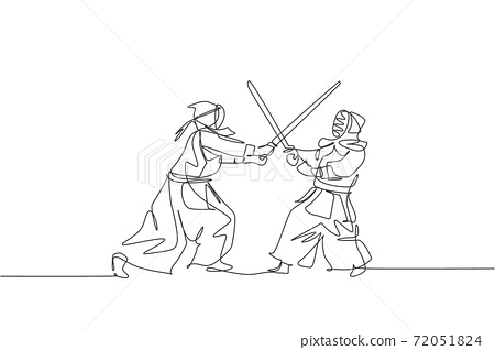 Single continuous line drawing of two young sportive man practicing defense and attack for kendo martial art skill on gym sport center. Fighting sport concept. One line draw design vector illustration 72051824