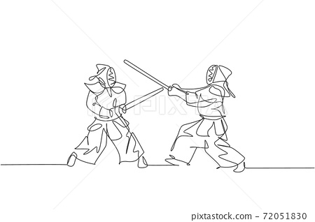 Single continuous line drawing of two young sportive men practicing kendo martial art skill on gym center. Sparring combat. Fighting sport concept. Trendy one line draw design vector illustration 72051830