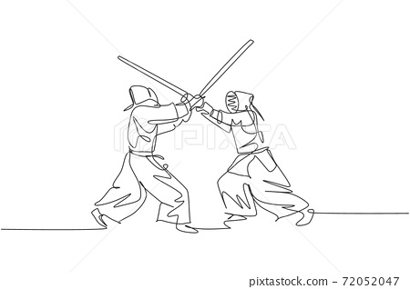 One continuous line drawing of two young sporty men training kendo attack and defense skill in dojo center. Healthy martial art sport concept. Dynamic single line draw design vector illustration 72052047