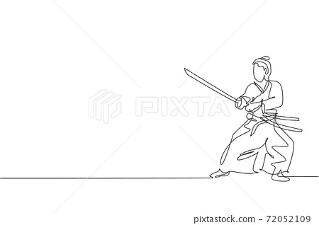 Single continuous line drawing of young strong samurai warrior wearing traditional uniform holding sword at festival. Ancient fighter soldier concept. Trendy one line draw design vector illustration 72052109