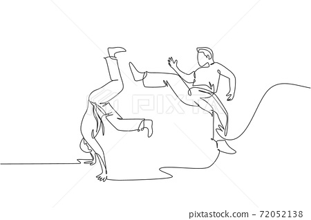 One continuous line drawing of two young sporty Brazilian fighter men training capoeira on the beach. Healthy traditional fighting sport concept. Dynamic single line draw design vector illustration 72052138