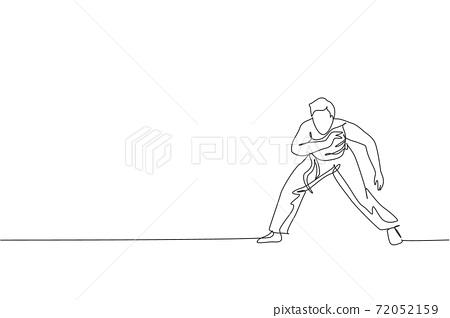 One single line drawing of young energetic man capoeira dancer perform dancing fight vector graphic illustration. Traditional martial art lifestyle sport concept. Modern continuous line draw design 72052159