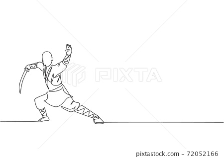One single line drawing of young energetic shaolin monk man exercise kung fu fighting with sword at temple vector illustration. Ancient martial art sport concept. Modern continuous line draw design 72052166