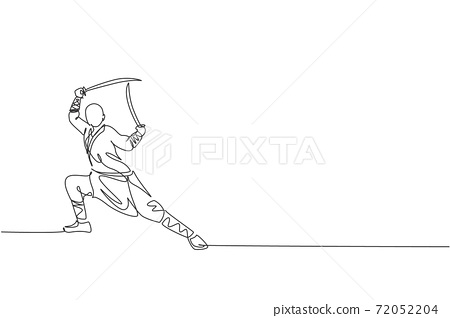 One continuous line drawing of young shaolin monk man practice kung fu with swords at temple ground . Traditional Chinese combative sport concept. Dynamic single line draw design vector illustration 72052204