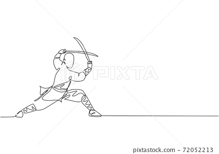 Single continuous line drawing of young muscular shaolin monk man holding sword train at shaolin temple. Traditional Chinese kung fu fight concept. Trendy one line draw design vector illustration 72052213