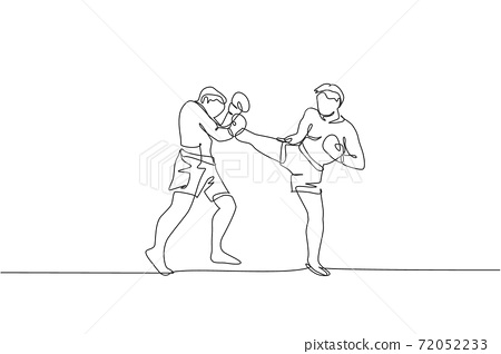 One single line drawing of young energetic man kickboxer practice with personal trainer in boxing arena vector graphic illustration. Healthy lifestyle sport concept. Modern continuous line draw design 72052233