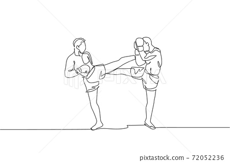 One continuous line drawing of young sporty man kickboxer athlete fight seriously at the national competition. Combative kickboxing sport concept. Dynamic single line draw design vector illustration 72052236