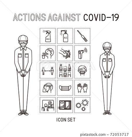 Business: Corona measures icon set 1, work clothes men and women (line art) 72053717