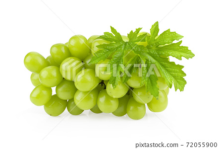 Green grape with leaf on white background 72055900