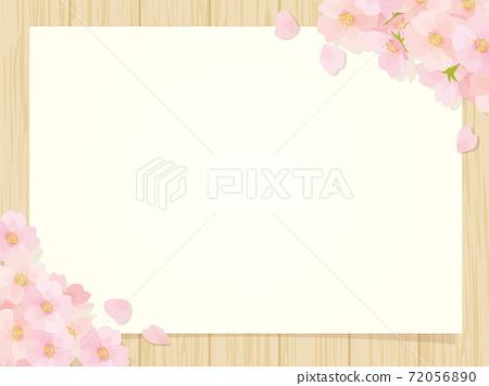 櫻花和木板背景 72056890