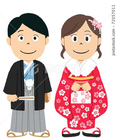 성인식에 볏이 하카, 기모노를 입는 남녀 72057011
