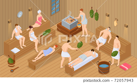 Isometric sauna or spa. Collection of people bathing in sauna or banya full of steam 72057943