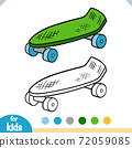 Coloring book for kids, Skateboard 72059085