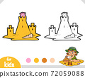 Coloring book for kids, Sand castle 72059088