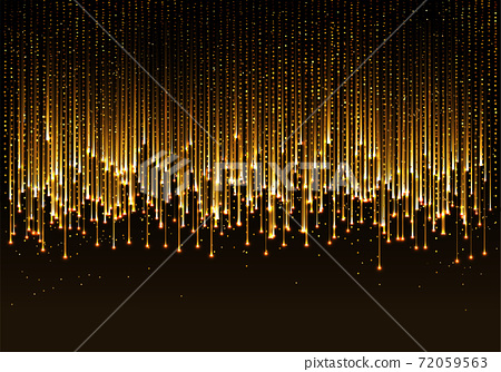 curtain of golden particles on a black background 72059563