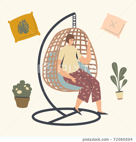 Female Character Relaxing in Wicker Suspended Chair. Woman Use Modern Decor Design Made of Natural Materials for Garden 72060884