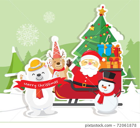 Christmas background with Santa Claus 72061878