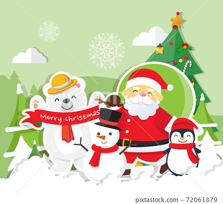 Christmas background with Santa Claus 72061879